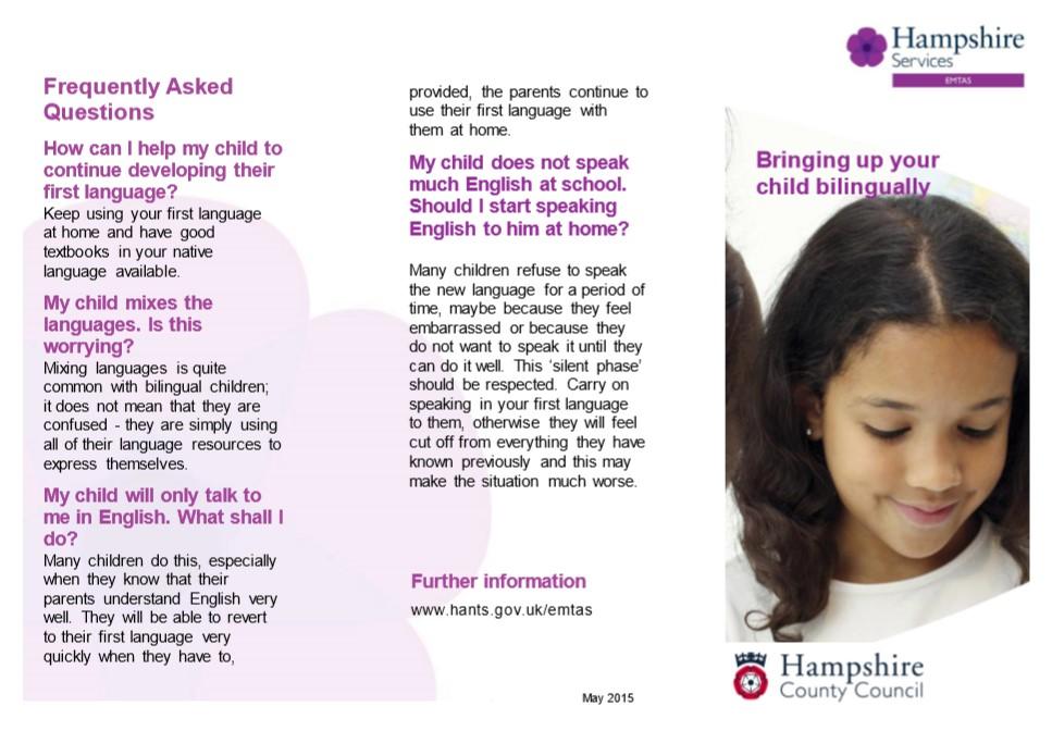 "image of the leaflet ""bringing up your child bilingually"""