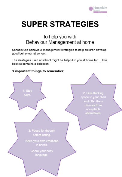 Image of the front page of the Behaviour Management Strategies booklet