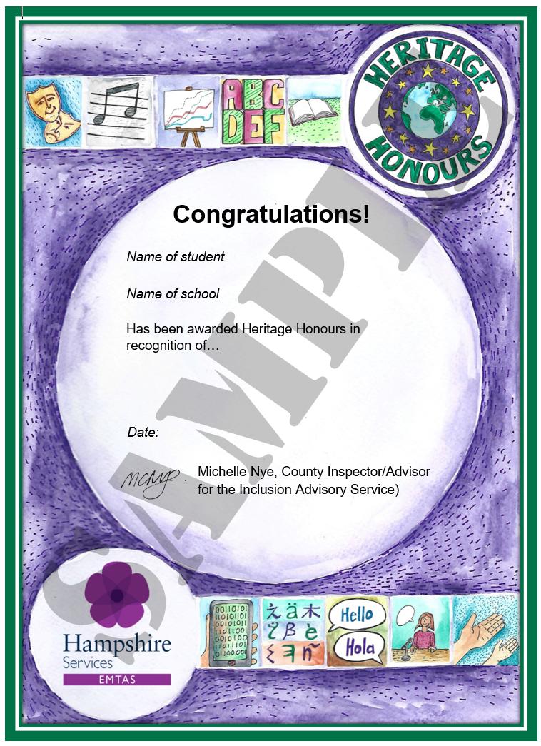 Heritage Honours sample certificate